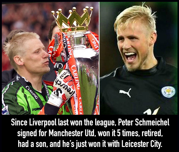 Schmeichel won since liverpool won the league